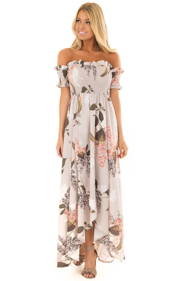 01456b4f541 Beige Floral Off Shoulder Maxi Dress with Layered Front in 2019 | Clothes |  Dresses, Boutique dresses, Dresses for sale