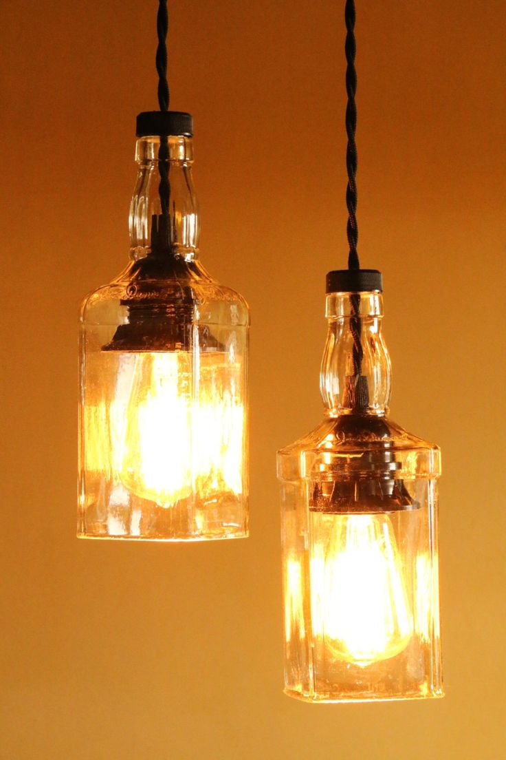 dual bottle lamp Decor Verona, lamps obtained working precious glass bottles