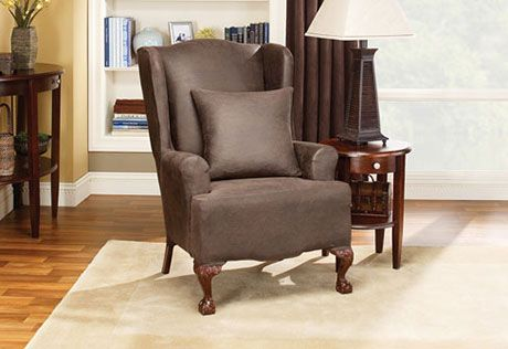 Sure Fit Slipcovers Stretch Leather Wing Chair Slipcover - Wing Chairs