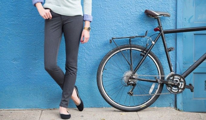 Gray Bike to Work Skinny Jeans