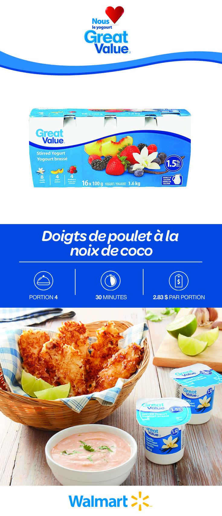 Voici une petite gâterie qui fera le bonheur des tout-petits: des doigts de poulet à la noix de coco. Utilisez notre yogourt Great Value comme trempette pour leur donner un goût acidulé. Seulement $2,83 par portion. Trouvez cette recette abordable en cliquant sur le lien! #recettesdepoulet #pouletàlanoixdecoco #doigtsdepoulet #doigtsdepouletàlanoixdecoco #recettesdedoigtsdepoulet #repaspourenfants #souperspourenfants #souperssimples #recettesdesoupersabordables