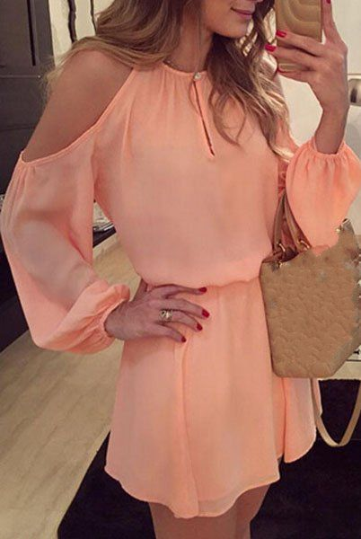 Endearing Shoulder Hollow Out Back Slit Solid Color Dress For Women