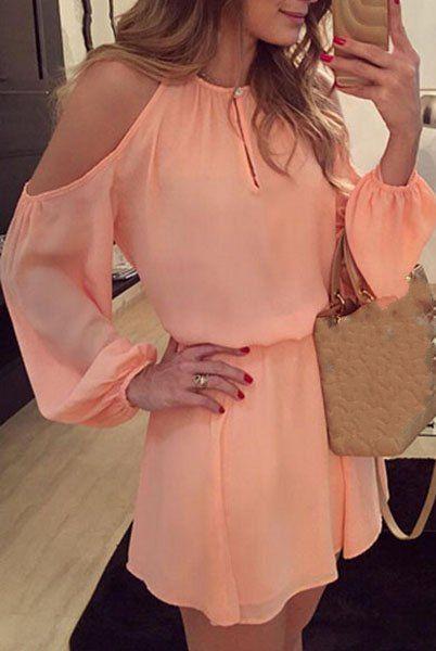 Attachant épaule solide de couleur évider Retour Robe fendue pour les femmes