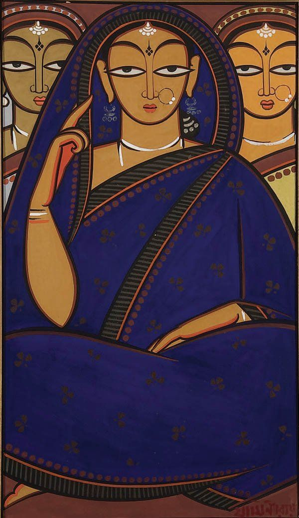 Jamini Roy painting. Had this pic on my wedding card, except the woman in front was in a red sari.......