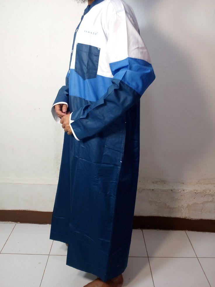 Baju Gamis Pria |Baju Jubah Pria Navy birmud putih Kombinasi-Baju Muslim Samase