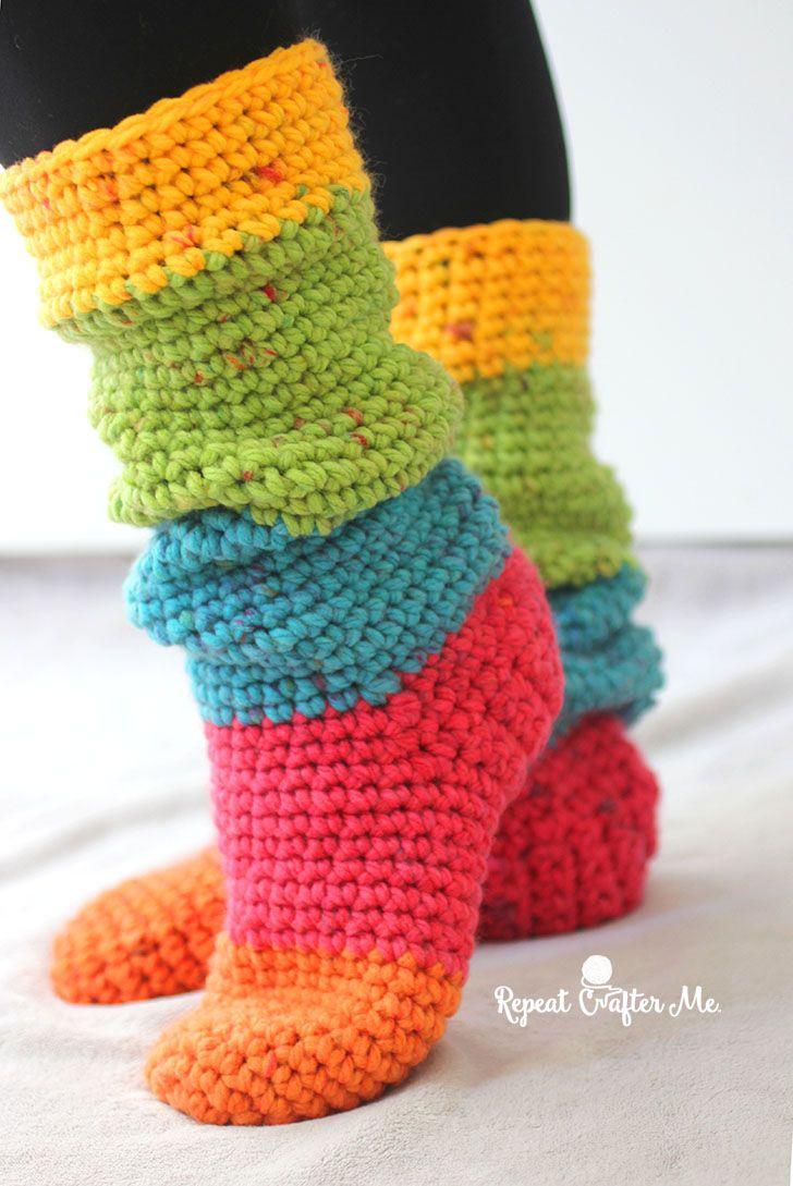 Caron Chunky Cakes Slouchy Slipper Socks | Crochet | Crochet