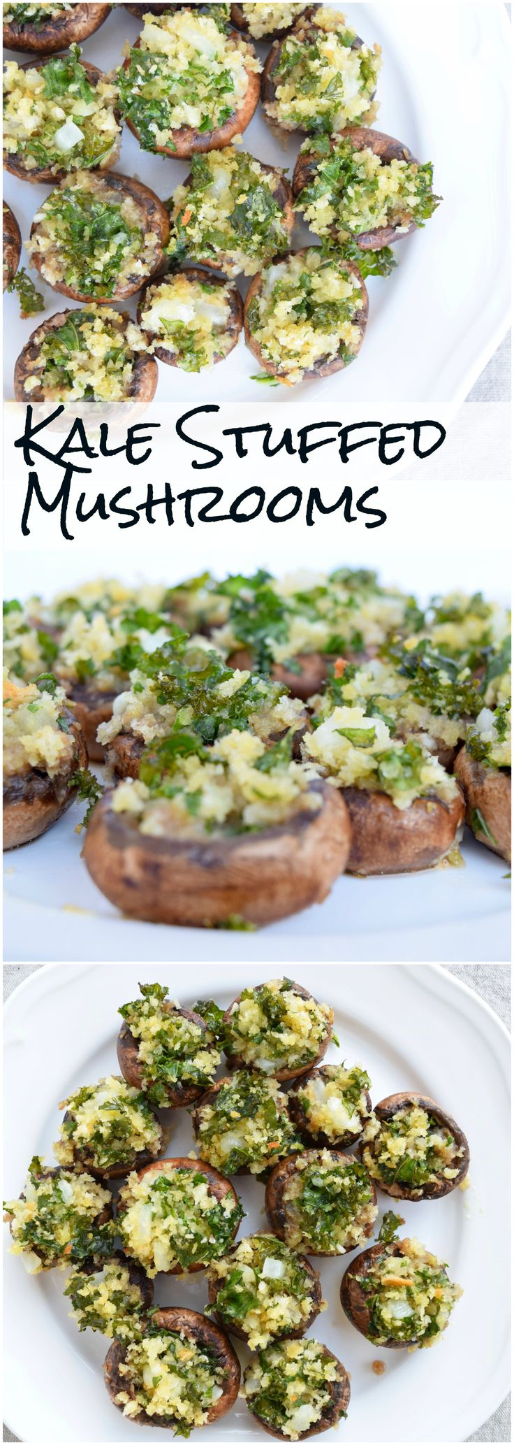 Mushrooms are stuffed to perfection with garlic and kale.