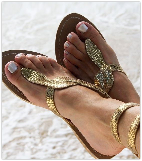golden flat sandals #swimsuitsforall, #BeachBelle and #pinyourparadise