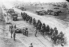 German cavalry and motorized units entering Poland from East Prussia during the Invasion of Poland of 1939.