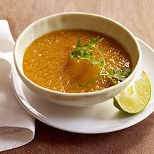 Curried Sweet Potato Soup with Lime and Cilantro 4 pts - I would use vegetable stock instead of chicken but it looks so yummy!