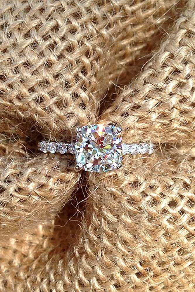 18 Brilliant Cushion Cut Engagement Rings ❤ See more: http://www.weddingforward.com/cushion-cut-engagement-rings/ #wedding #engagement #rin