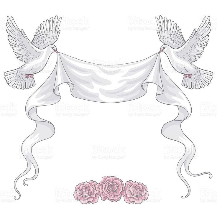 Dibujados a mano de palomas blancas, cinta y las rosas stock sin royalties vector de arte
