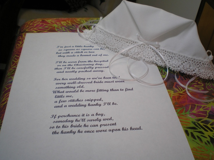 Handkerchief Bonnet With Poem Sewing For Baby