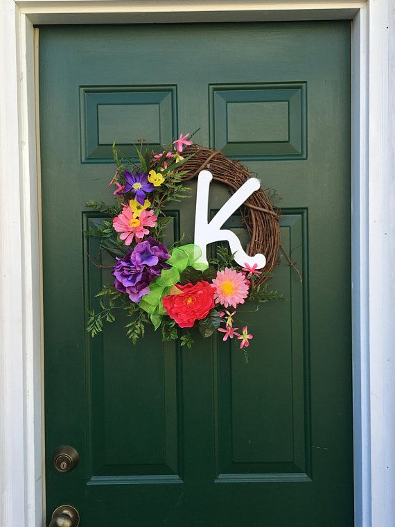 White Letter Silk Monogram Entrance Door Wreath Personalized Colorful Silk Wreath Front Door Monogram K Wreath Silk Wreaths Front Door Monogram White Letters