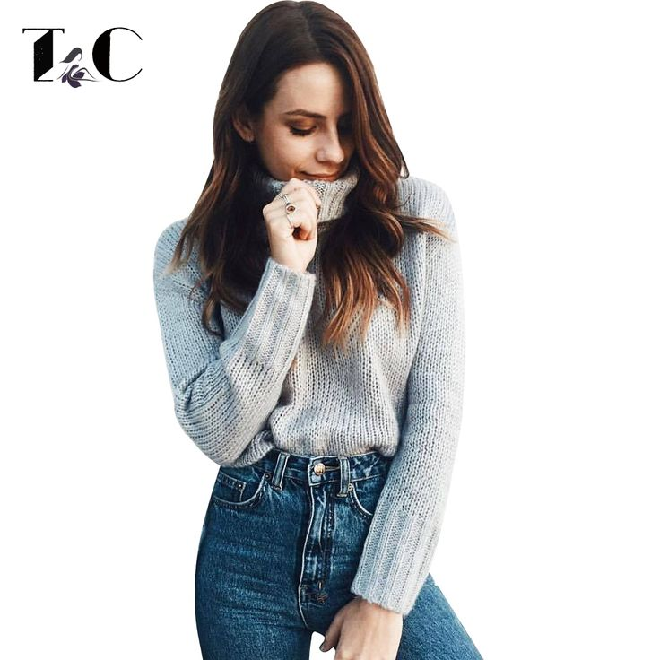 TC Winter Autumn Sweater Women Jumper Pullovers Long Sleeve Turtleneck Knitted Sweaters 2017 Women Sweater sueter mujer *** AliExpress Affiliate's buyable pin. Click the VISIT button to view the details on www.aliexpress.com