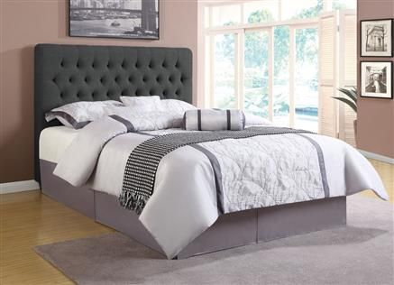 chloe traditional charcoal wood fabric cal king headboard - Lowprofilekopfteil