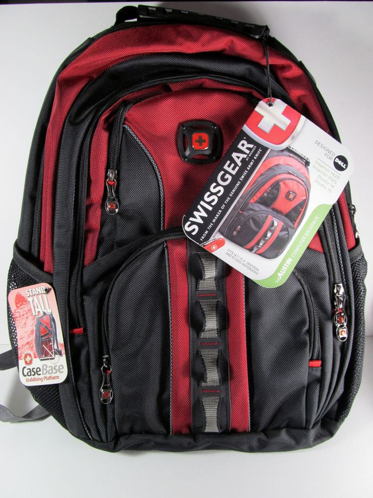 Red /Black Swiss Gear BackPack Design For Dell Computer With iPod/MP3 Player Poc #Dell
