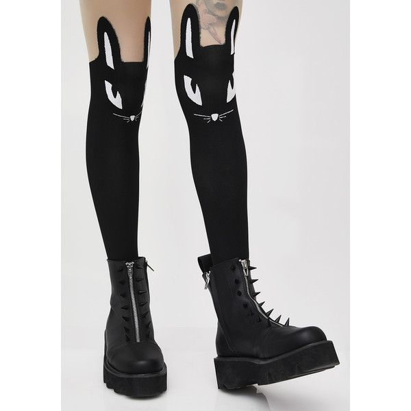 Killstar Thumper Tights (£13) ❤ liked on Polyvore featuring intimates, hosiery, tights, black, opaque stockings, bunny tights, opaque pantyhose, sheer stockings and transparent tights