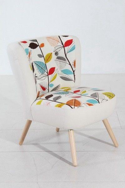 Stuhlsessel Sessel Stuhl Retro Weiß Blätter Muster Herbst | EBay