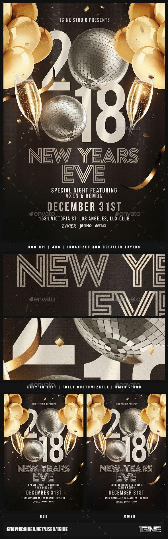 #NYE Party Flyer Template v2 - Clubs & Parties #Events