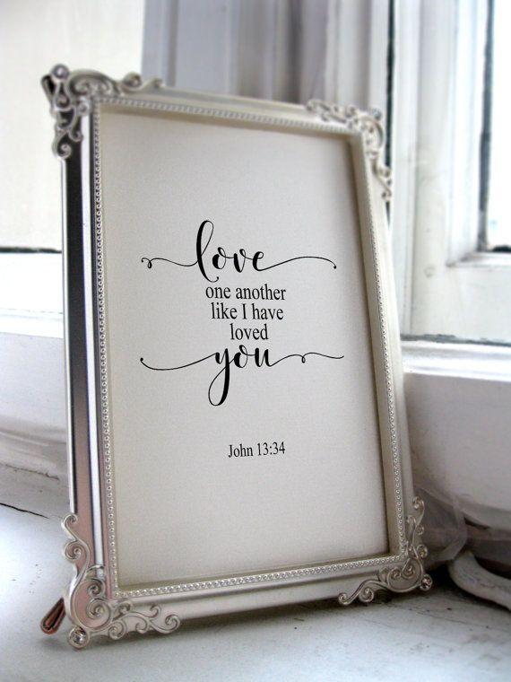 Wedding bible verse, Wedding printable, Scripture art, love one another, John 13:34, Wedding gift, Typography wedding decor BD-972 #printablewedding #bibleverses