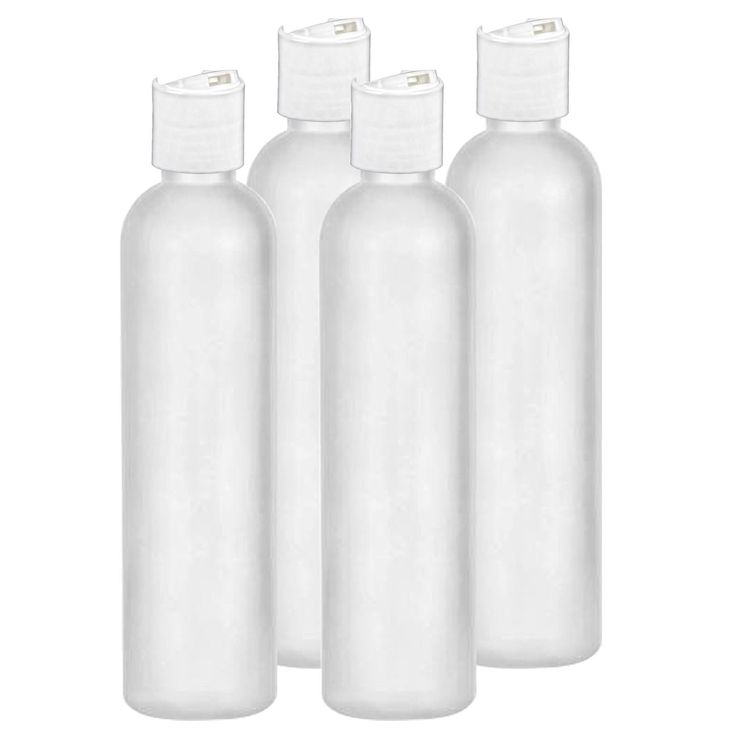 8 Oz Easy Squeeze HDPE Bottles Commercial Grade with White Disc Cap - 4 Pack