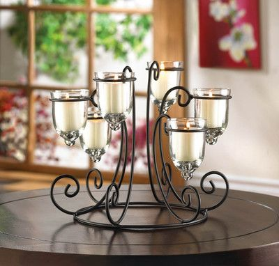 WROUGHT IRON CANDLE HOLDER DISPLAY TABLETOP CENTERPIECES NEW~10015397