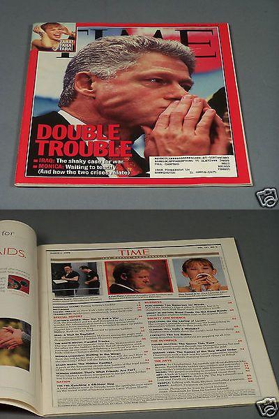Bill Clinton: Bill Clinton In Time Magazine From March 2, 1998 + Monica, Iraq, Tara Lipinski BUY IT NOW ONLY: $5.99