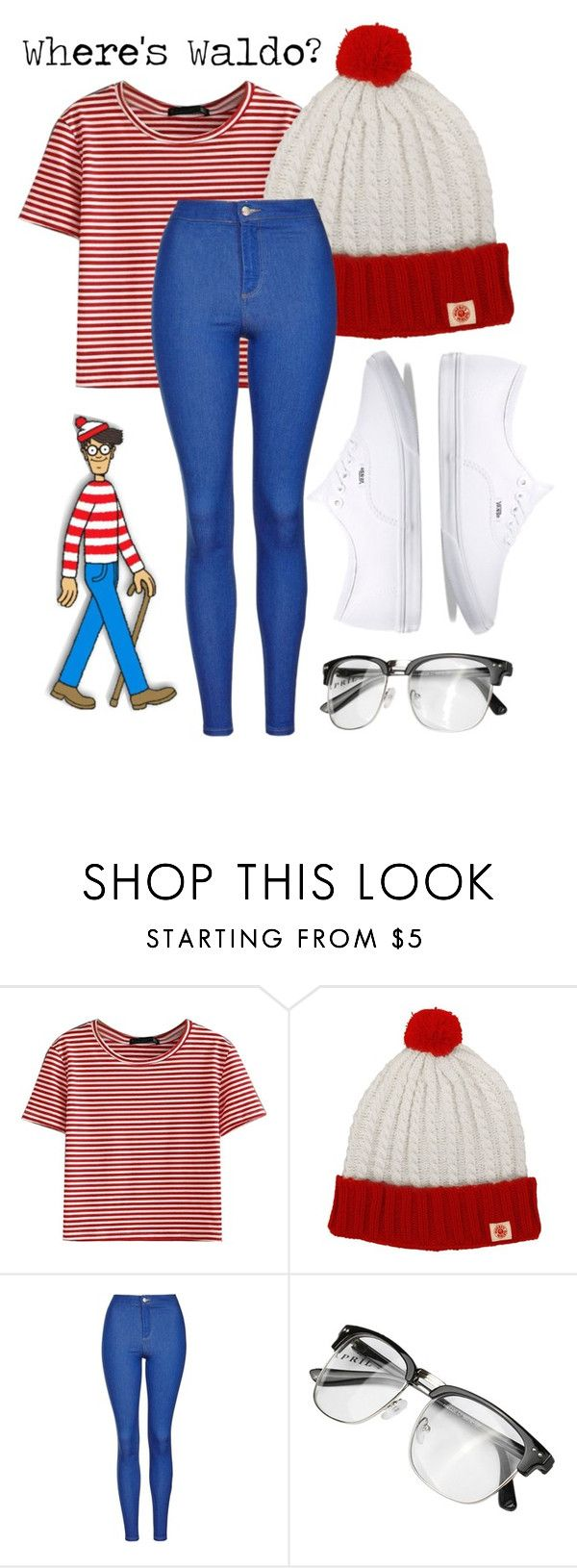 """Where's Waldo Halloween Costume"" by mejfun on Polyvore featuring WithChic, Topshop and Vans"
