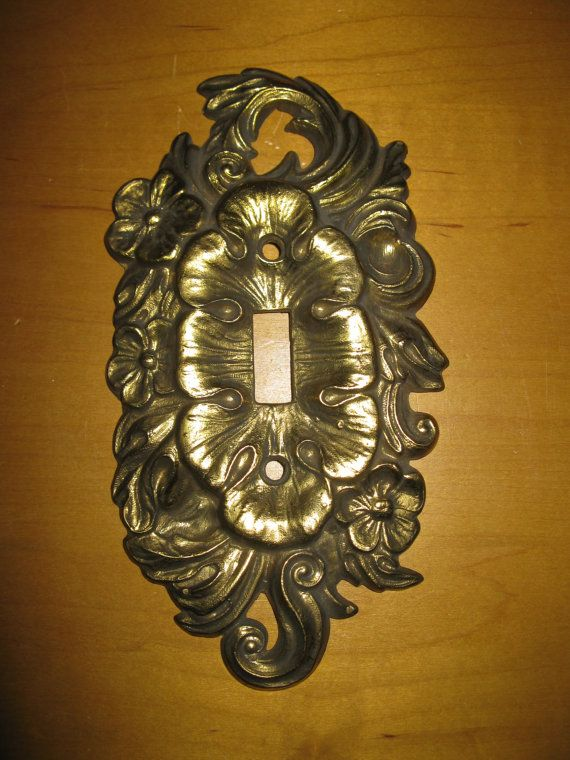 vintage brass ornamental light switch cover single toggle chelsea products goldtone floral