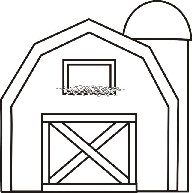 Barn with Silo Coloring Page | Greatest Coloring Book