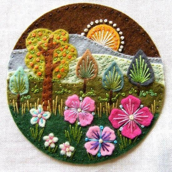 Trees, Flowers, Mountains & Sun Meadow Scene on Circle Shape