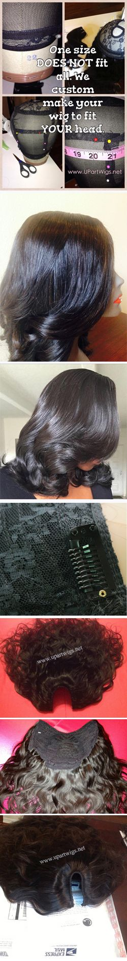 U Part Wigs Custom Made with Virgin Hair - Free Shipping