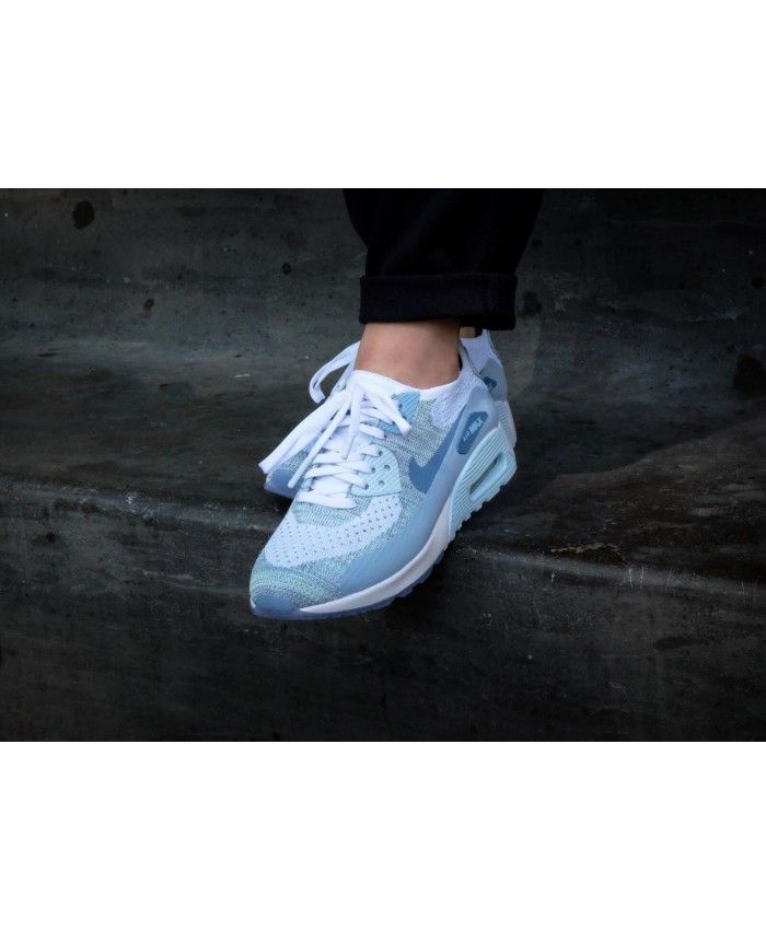 Discout Nike Air Max 90 Ultra 2.0 Flyknit White Glacier Blue