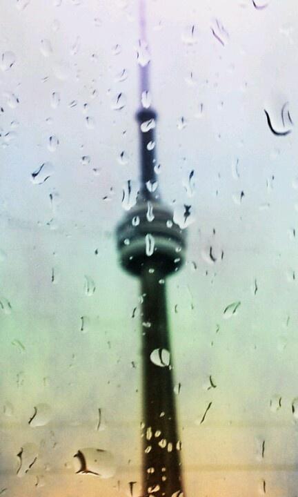 Rainbow CN tower droplets.