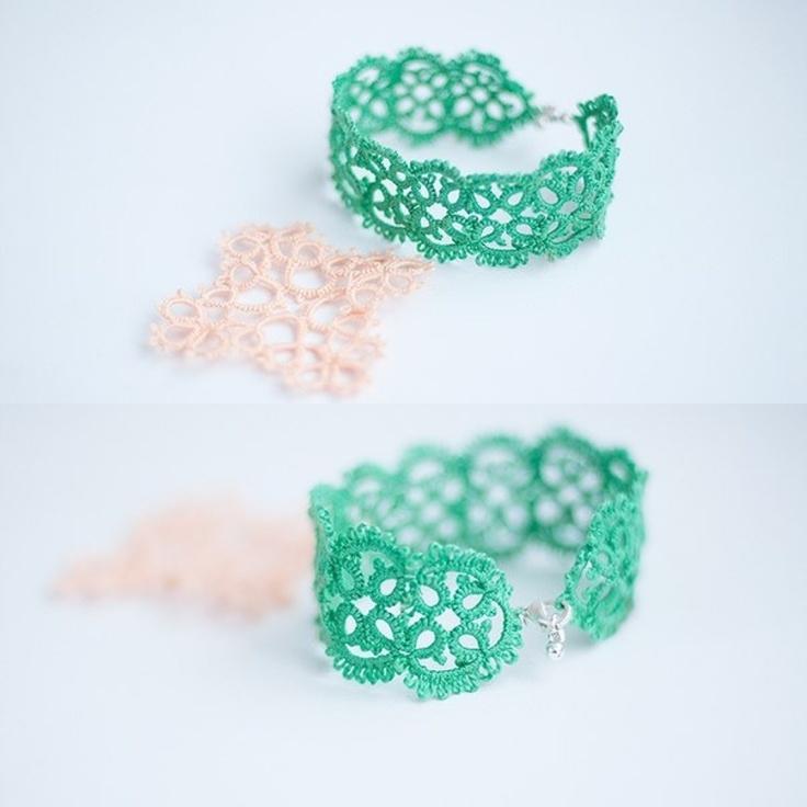 Handmade mint frivolite bracelet