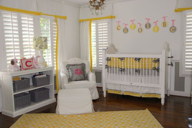 yellow baby rooms | Yellow and Grey Baby Nursery |