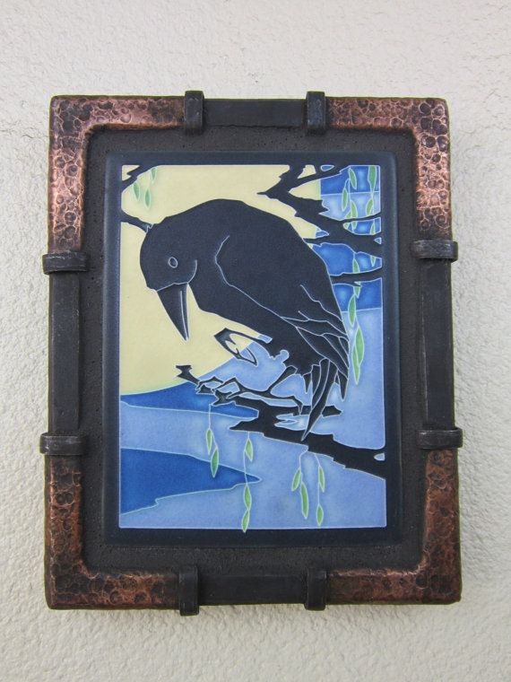 Arts And Crafts Motawi Raven Tile In Wrought Iron Frame By