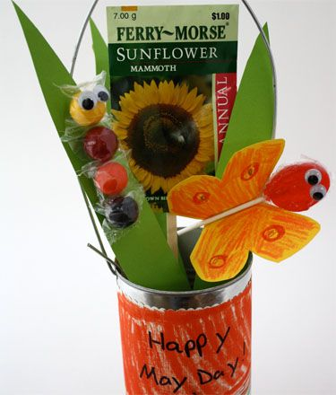 May Day basket. I think that gum ball caterpillar is way cute! :) Garden/insect party favor?
