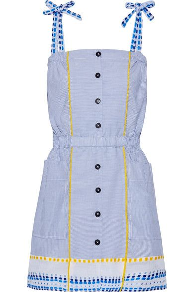 Tonal-blue, white and yellow cotton-blend and gauze Slips on 50% cotton, 50% Tencel Hand wash