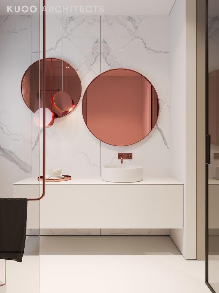 COPPER MIRROR IN A WHITE MODERN BATHROOM WITH WHITE MARBLE www.archovo.com #archovo #architecture #architectonline