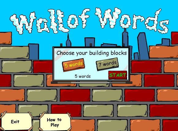 """WALL OF WORDS ONLINE GAME~ Students move bricks to create logical sentences and then add the correct punctuation. If the sentence is right, the wall continues to be built. When the wall is complete the little """"brick layer"""" people cheer and the clock returns to zero. Great review of sentence types, and for practicing writing with complete sentences. Fun, too!"""