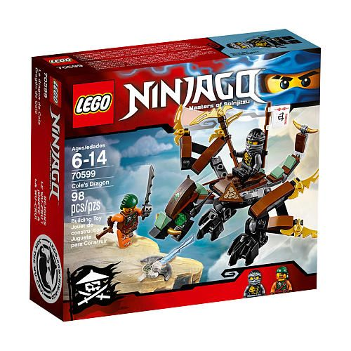 Face-off against sky pirate Bucko with Ninja warrior Cole's Dragon, featuring a posable neck, wings and legs. Free the 'trapped Zane' element from the special Djinn blade and ride away victorious!.<br><br>The LEGO Ninjago Cole's Dragon (70599) Features:<br><ul><li>Includes 2 minifigures: Cole and Bucko.</li><br><li>Cole's Dragon features a posable neck, wings and legs, golden details and LEGO® elements in Cole's characteristic black and brown colors.</li><br><li>Weapons include a transpar...