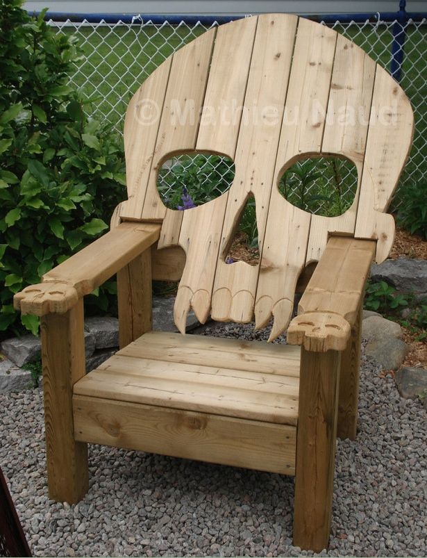 Skull chair: Skull Chairs, Adirondack Chairs, Idea, Patio Chairs, Sake Chair, Pallets Furniture, Gardens Chairs, Things, Lawn Chairs