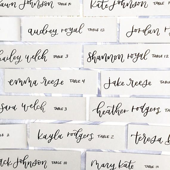 Modern+Gray+Calligraphy+Wedding+Place+Cards,+Unique+Event+Escort+Cards/+Table+Seating/Name+Cards/Wedding+Decor