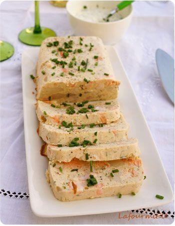 Recette de Terrine de saumon, st Jacques et crevettes roses pour une entrée qui peut se préparer à l'avance;