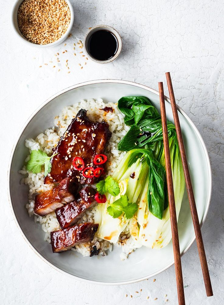 Caramelised hoisin and ginger pork strips with sticky white rice and garlic pak choy.