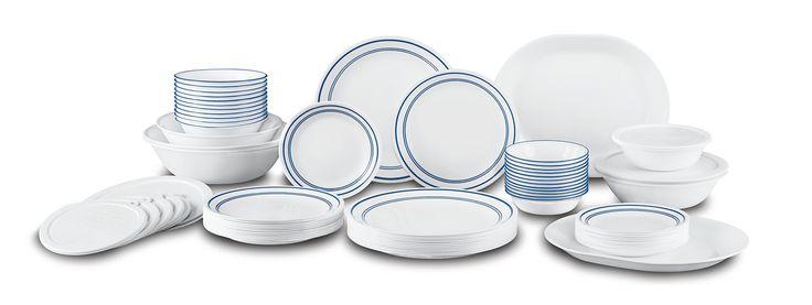 Corelle Livingware 74 Piece Classic Cafe Blue Dinnerware Set with Storage Lids, White
