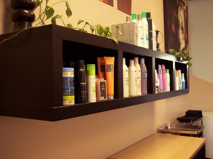 Product display area. MagDoll's Hair Salon  Designed by LoveInteriors.