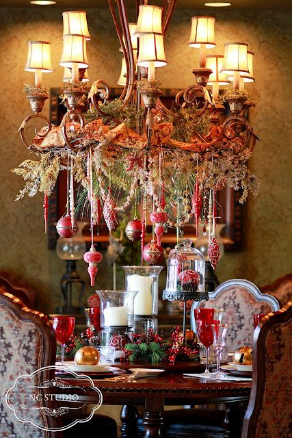 At Christmas..A festive table and lighting!!! Bebe'!!! Love this Christmas formal dining room decorated for special holiday celebrations and meals!!! A great idea for a festive Holiday tablescape!!!